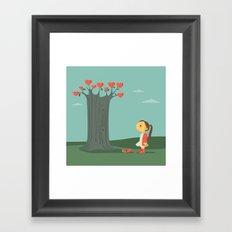 Broken hearted tree Framed Art Print