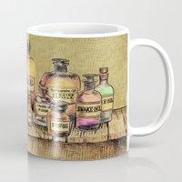 oil Mugs featuring Snake Oil by Eric Fan
