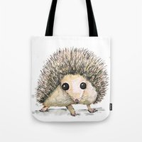 hedgehog Tote Bags featuring Hedgehog by Bwiselizzy
