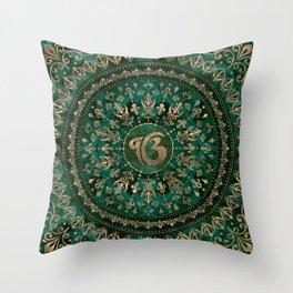 Ek Onkar / Ik Onkar Malachite and gold Throw Pillow