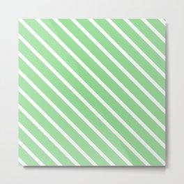 Light Jade Diagonal Stripes Metal Print