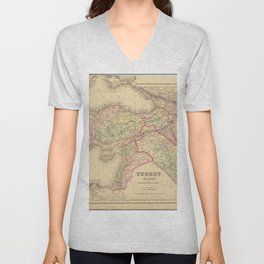Vintage Map Print - 1857 Map of the Ottoman Empire in the Middle East Unisex V-Neck