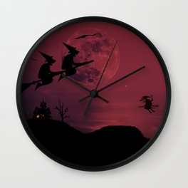 Witches in the air Wall Clock