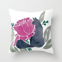 Floral Cat Throw Pillow