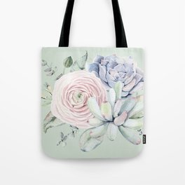 Mint Green + Pink Delight Succulents Tote Bag