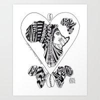 LOVE; BLACK QUEEN Art Print