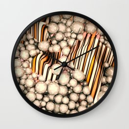Large group of yellow abstract orbs or pearls or spheres Wall Clock