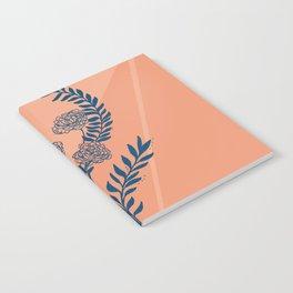 Blue peach peony floral design Notebook