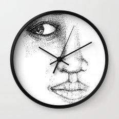 Fine Liner Stippling Girl 1 Wall Clock