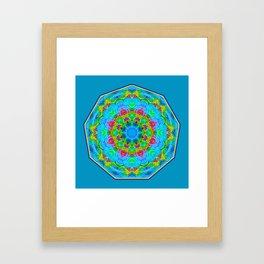 Red Flower Blue Mandala Framed Art Print