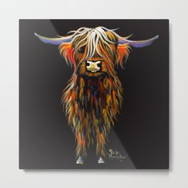 Scottish Highland Cow ' STEWART ' by Shirley MacArthur Metal Print