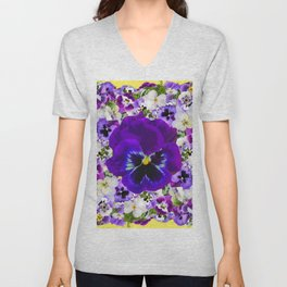 PURPLE & WHITE PANSY GARDEN ART Unisex V-Neck
