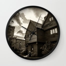 Corwin House - Salem MA - Black and White Wall Clock