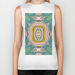 Abstract with tribal floral patterns in blue, green, pink & yellow Biker Tank
