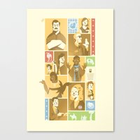 parks and rec Canvas Prints featuring Parks & Rec - Dammit Jerry! Edition by Florey