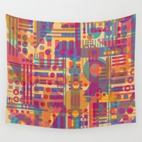 plaid Wall Tapestries featuring Mad Plaid by Shelly Bremmer