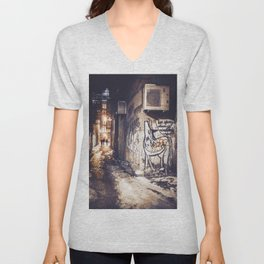 Lower East Side - Midnight Warmth on a Snowy Night Unisex V-Neck