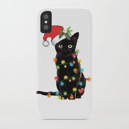 Santa Black Cat Tangled Up In Lights Christmas Santa T-Shirt iPhone Case