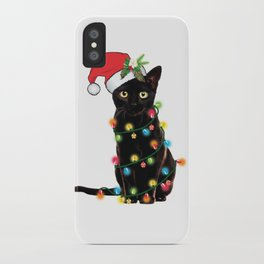 Santa Black Cat Tangled Up In Lights Christmas Santa Graphic iPhone Case