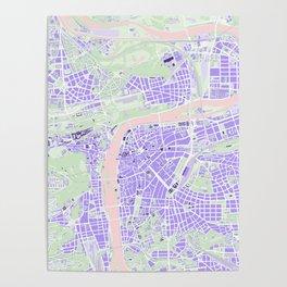 Prague map violet Poster