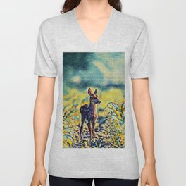Lost Fawn Of The Dreamworld | Painting  Unisex V-Neck