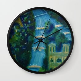 Villemot Paris at Night 'Air France' Vintage Trade Print Wall Clock