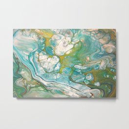 Ice & Gold - Abstract Acrylic Art by Fluid Nature Metal Print