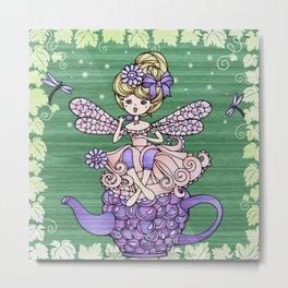 Fairy and Teapot Metal Print