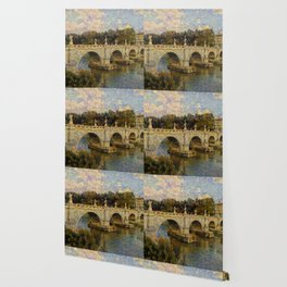 French Impressionistic Arched Bridge Wallpaper