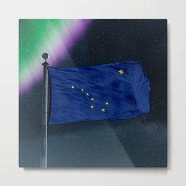 Alaska flag over milky way and northern light Metal Print