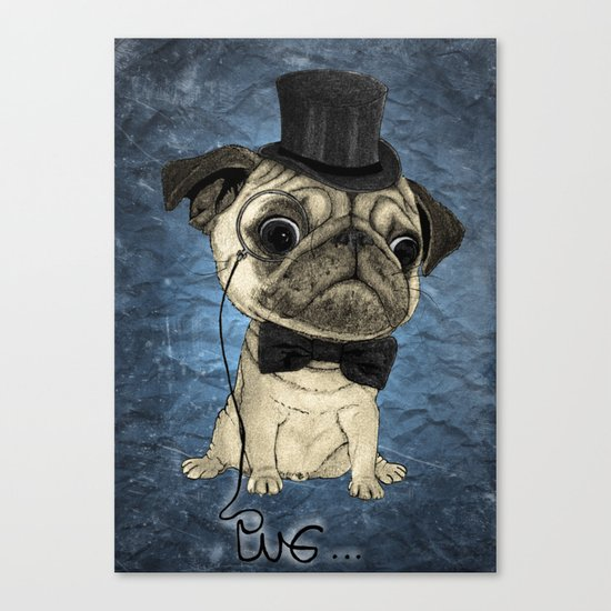Pug; gentle pug (color version) Canvas Print