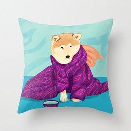 Shiba Inu Wearing a Purple Kimono, Enjoying Matcha Tea Throw Pillow
