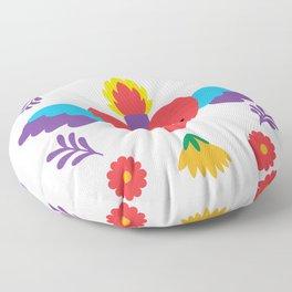 Sacred Heart Evil Eye Mexican Otomi Embroidery Folk Art Floral Floor Pillow