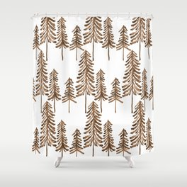 Pine Trees – Sepia Palette Shower Curtain