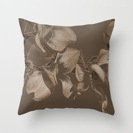 Dogwood Tree Flowers (sepia) Throw Pillow