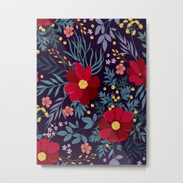 Bold Beautiful Graphic Floral Pattern Floral Kingdom Flowers Glowing Red Flower Garden Night Magic Metal Print