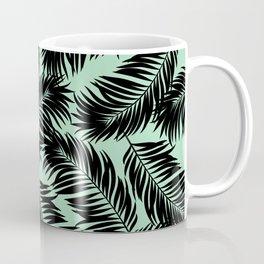 Palm Frond Tropical Décor Leaf Pattern Black on Mint Green Coffee Mug