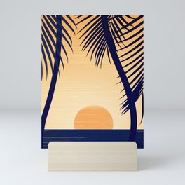 Retro Golden Sunset - Tropical Scene Mini Art Print