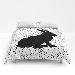 Black Silhouette Sitting Bunny Rabbit Polka Dots on White Comforters