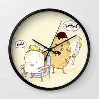 bread Wall Clocks featuring Bread Barber by Iconwalk