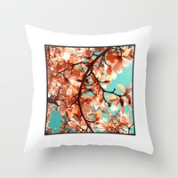 magnolia Throw Pillows featuring magnolia by blackpool