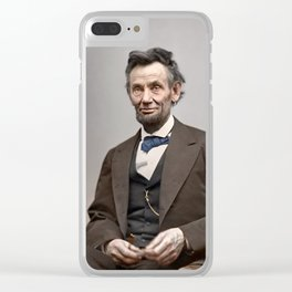 Abraham Lincoln Portrait Colorized Clear iPhone Case