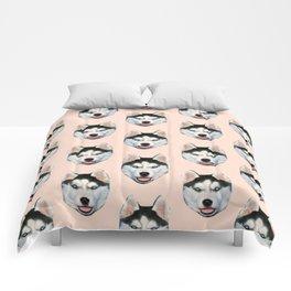 cute puppy husky dog pattern Comforters