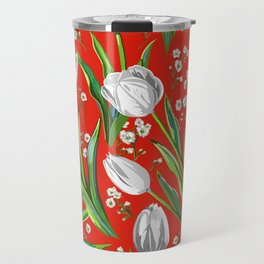 White Tulips + Babys Breath — Red Travel Mug