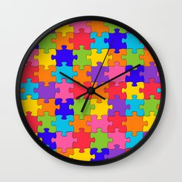 Colorful Jigsaw Puzzle Pattern Wall Clock