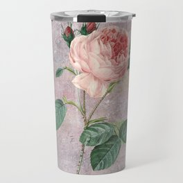 Vintage & Shabby Chic - Rose on pink grunge background  - Roses and flowers garden Travel Mug