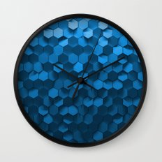 Blue hexagon abstract pattern Wall Clock