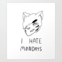 Anime Garfield Art Print