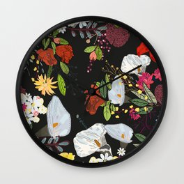 Pomegranate and lily and colorful flowers pattern black background #artprint Wall Clock