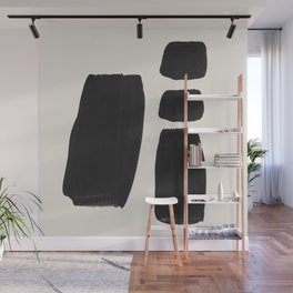 Mid Century Modern Minimalist Abstract Art Brush Strokes Black & White Ink Art Square Shapes Wall Mural